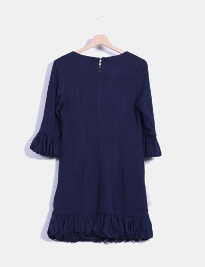 Vestido azul marino abullonado