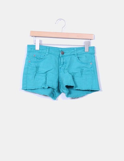 Short verde con rotos Denim Co.