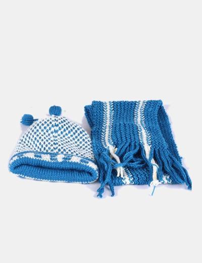Conjunto gorro y bufanda punto grueso azul y beige NoName