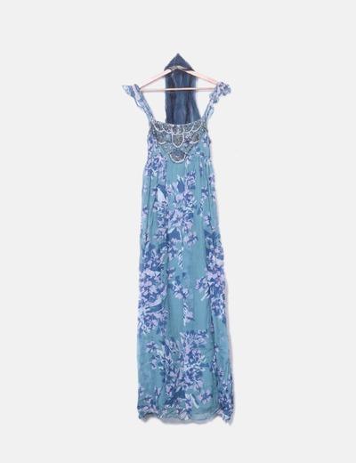 Maxi vestido estampado abalorios Tintoretto