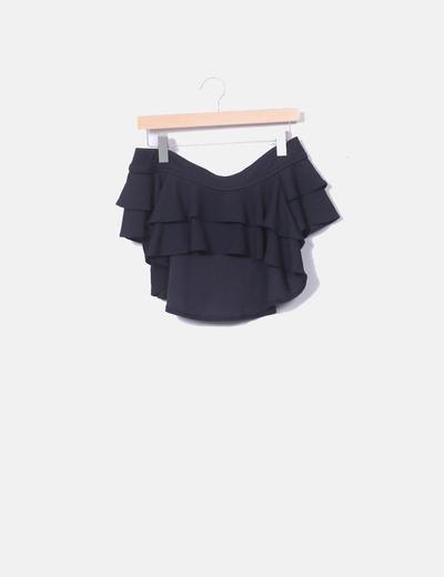 Mini falda volantes negro