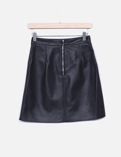 76debc44f Zara Falda de cuero negra (descuento 53%) - Micolet