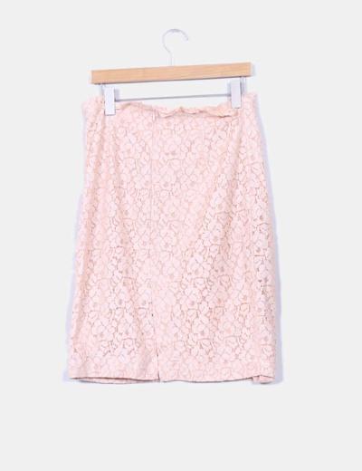 Falda midi nude gipur