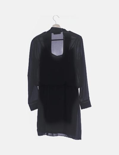 Vestido de gasa negro combinado