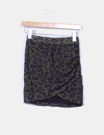 Mini falda verde animal print Zara