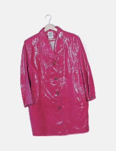 Abrigo largo rosa texturizado
