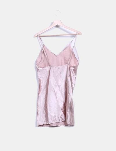 Vestido lencero saten nude