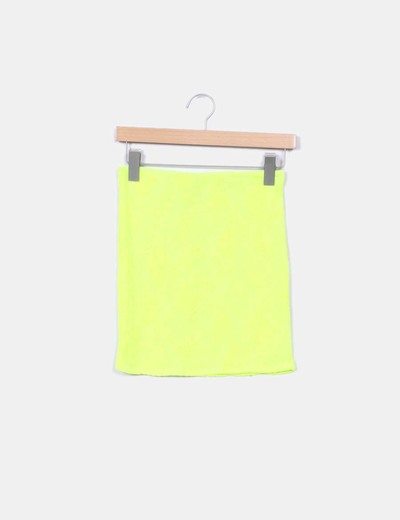 Falda rejilla amarilla flúor