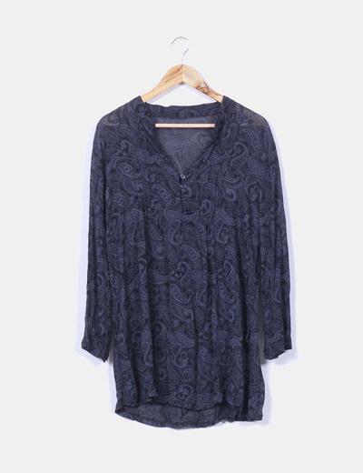 Blusa negra semitransparente estampado cachemir NoName