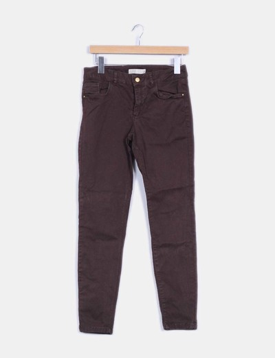 Pantalon pitillo marron chocolate