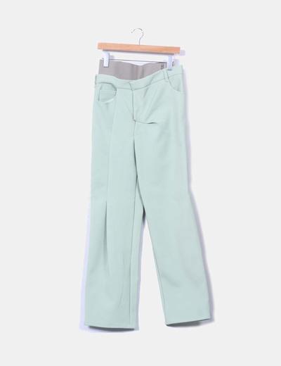 Pantalón verde recto con tiro alto NoName