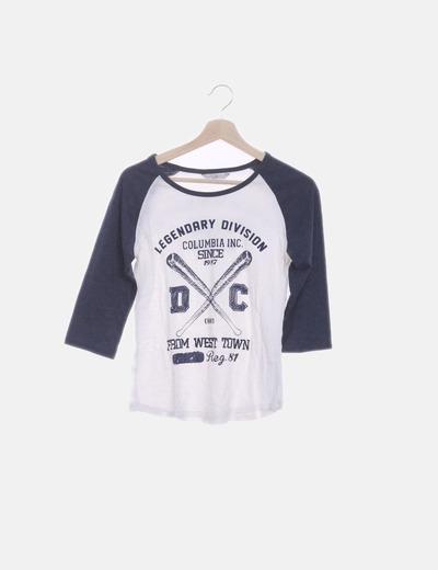 Camiseta combinada blanca y azul