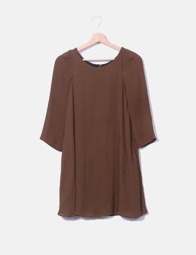 Vestido gasa marrón