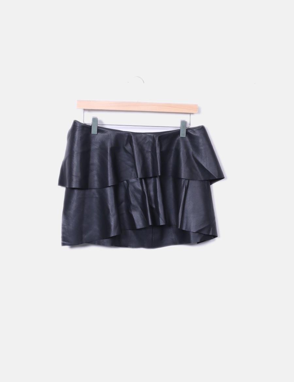 17d644ac476 Zara polipiel con baratas online Minifalda Faldas negra volantes qIZOnxT7w  ...