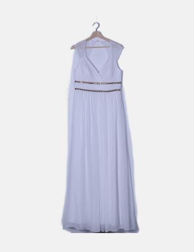 Vestido blanco escote drapeado con strass