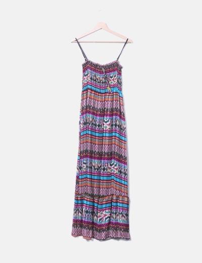 Maxi vestido plisado multicolor Miss Miss
