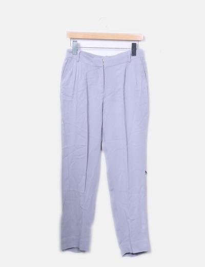 Pantalón fluido gris pinza
