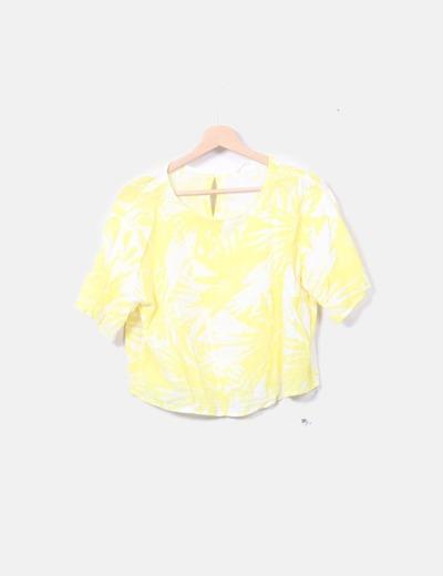 Top fluido amarillo floral