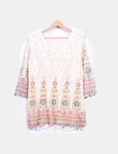 Blusa en crochet nude con estampado multicolor Meisïe