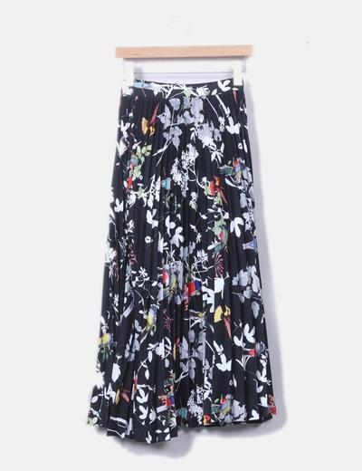 Maxi falda plisada negra floral