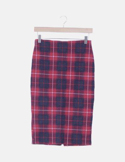 Falda tubo roja cuadros elástica