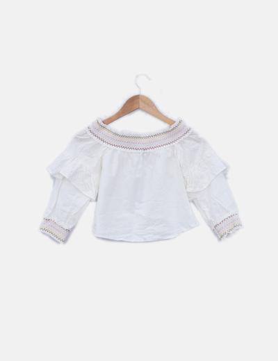 producto caliente mayor selección nueva temporada Blusa hombros descubierto blanco