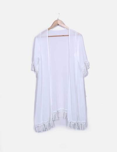 Kimono gasa blanca con flecos NoName
