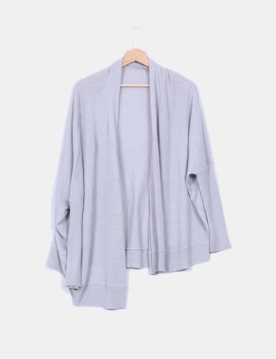Cárdigan tricot gris oversize Zara