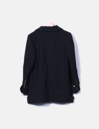 Abrigo negro doble cremallera