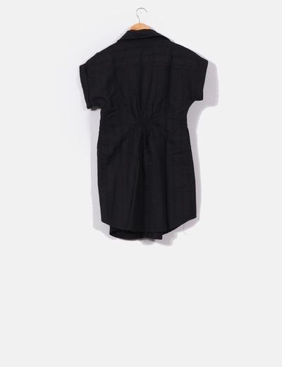 Vestido camisero texturizado negro