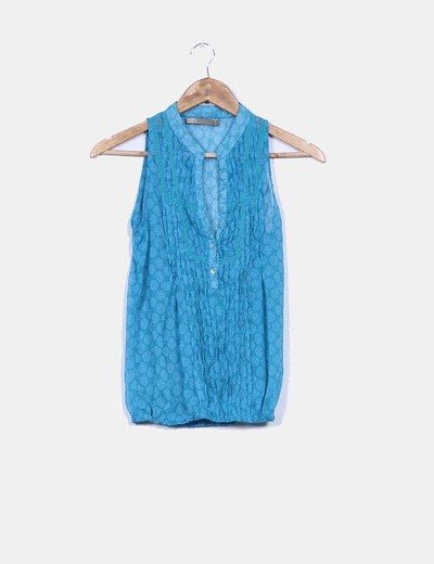 Blusa azul petroleo estampada Sfera