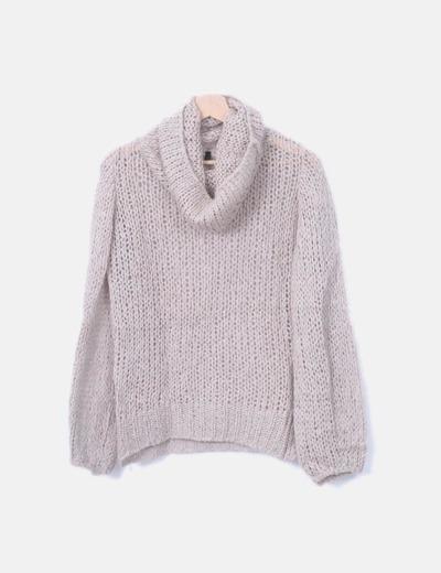 Jersey lana beige cuello vuelto