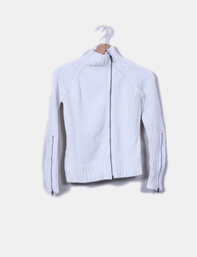 Chaqueta punto grueso blanco con cremalleras Easy Wear