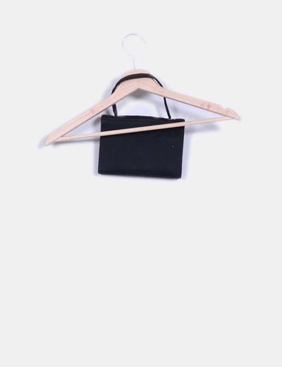 Mini bolso negro texturizado
