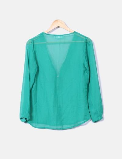 Blusa semitransparente cremallera