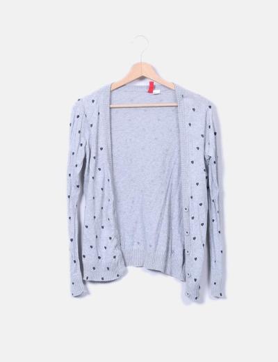 Chaqueta tricot gris con corazones H&M