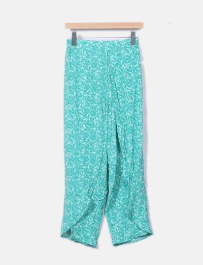 Pantalón fluido verde floral