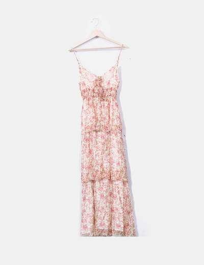 Vestido maxi gasa estampado floral