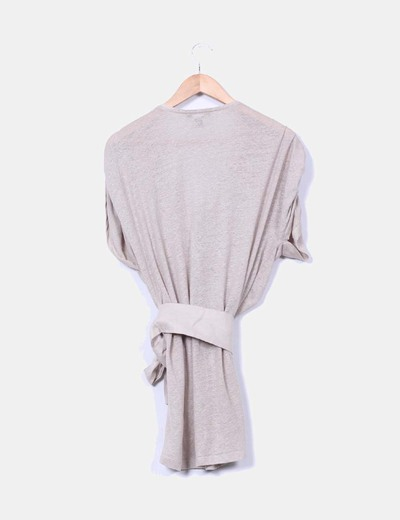 Jersey tricot largo camel con cinturon