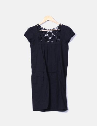 Vestido mini negro con crochet escote Pepe Jeans