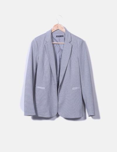 Blazer tricot gris jaspeado