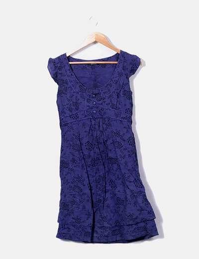 Vestido sem mangas estampado azul marinho sem mangas Tintoretto