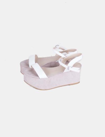 5a0a9651 Zara Sandalia suela cuña y plataforma tiras blancas (descuento 68 ...