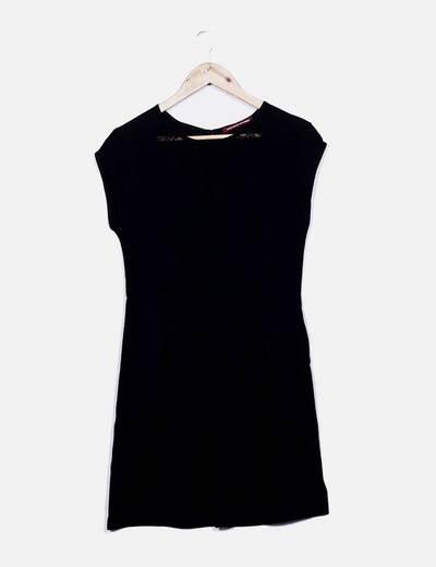 Vestido midi negro fluido Comptoir des Cotonniers