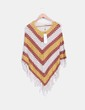 Poncho beige tricot avec frange ONLY