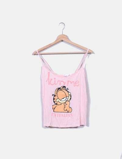 Top tirantes rosa print Garfield Women'secret