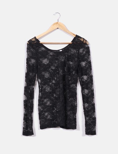 90abb333b3a9 Camiseta negra de encaje con manga larga