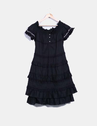 Vestido negro con volantes  Isola marras