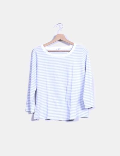 T-shirt blanc et bleu rayé COS