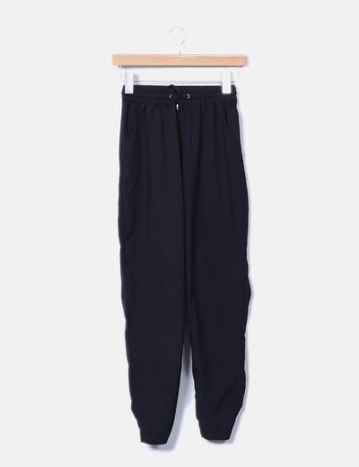 Pantalón negro fluido elástico a la cintura NoName